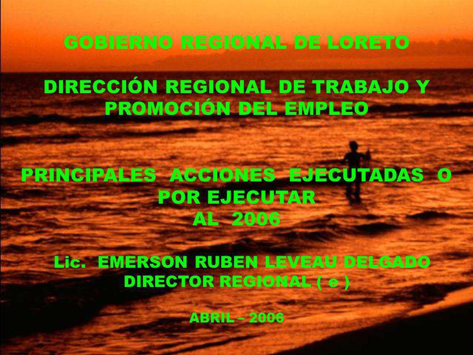 GOBIERNO REGIONAL DE LORETO DIRECCIÓN REGIONAL DE TRABAJO Y PROMOCIÓN DEL EMPLEO PRINCIPALES ACCIONES EJECUTADAS O POR EJECUTAR AL 2006 Lic.
