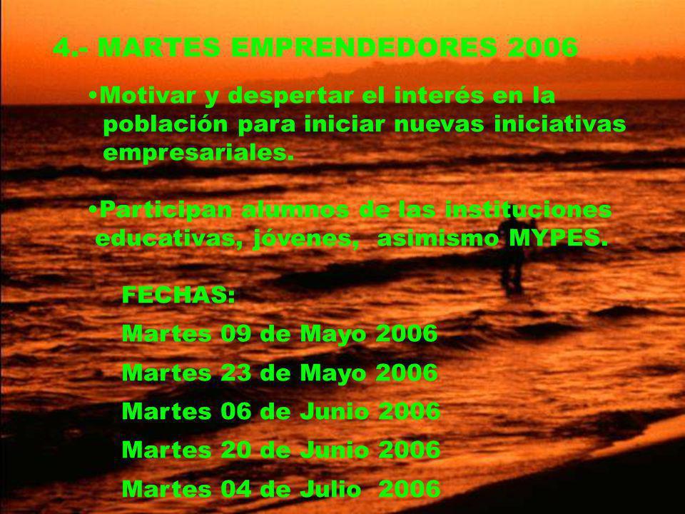 4.- MARTES EMPRENDEDORES 2006 Motivar y despertar el interés en la población para iniciar nuevas iniciativas empresariales.