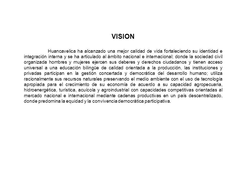 VISION Huancavelica ha alcanzado una mejor calidad de vida fortaleciendo su identidad e integración interna y se ha articulado al ámbito nacional e in