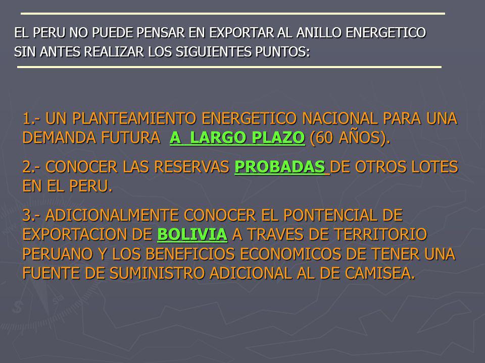 EL PERU NO PUEDE PENSAR EN EXPORTAR AL ANILLO ENERGETICO SIN ANTES REALIZAR LOS SIGUIENTES PUNTOS: 1.- UN PLANTEAMIENTO ENERGETICO NACIONAL PARA UNA D