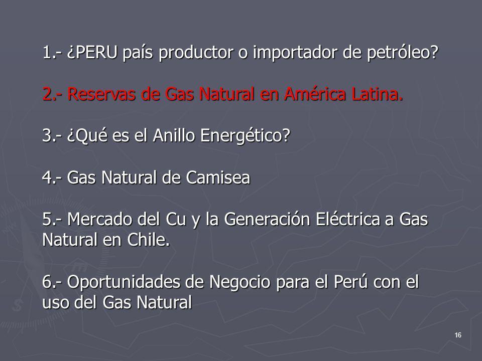 16 1.- ¿PERU país productor o importador de petróleo? 2.- Reservas de Gas Natural en América Latina. 3.- ¿Qué es el Anillo Energético? 4.- Gas Natural