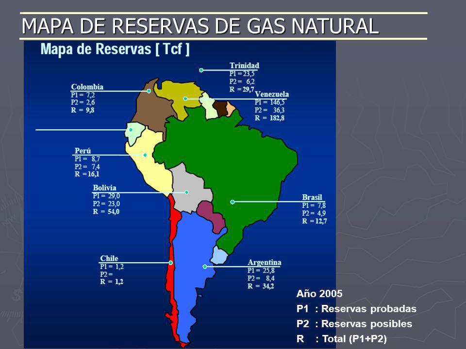 MAPA DE RESERVAS DE GAS NATURAL Año 2005 P1 : Reservas probadas P2 : Reservas posibles R : Total (P1+P2)