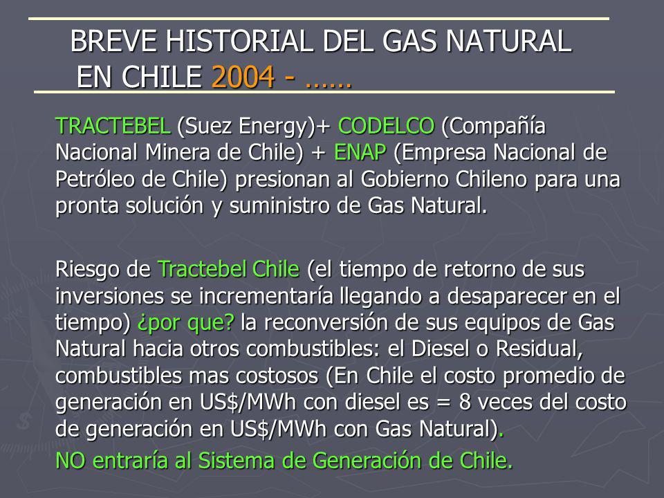 TRACTEBEL (Suez Energy)+ CODELCO (Compañía Nacional Minera de Chile) + ENAP (Empresa Nacional de Petróleo de Chile) presionan al Gobierno Chileno para