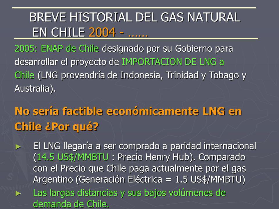 2005: ENAP de Chile designado por su Gobierno para desarrollar el proyecto de IMPORTACION DE LNG a Chile (LNG provendría de Indonesia, Trinidad y Toba