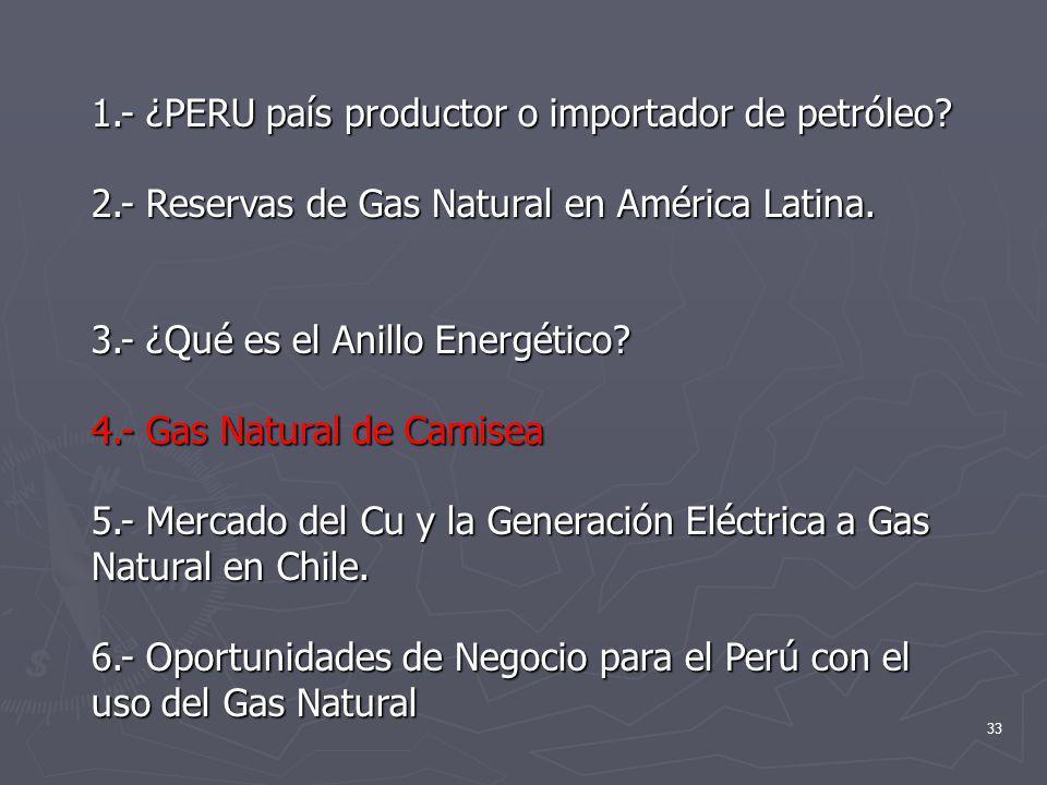 33 1.- ¿PERU país productor o importador de petróleo? 2.- Reservas de Gas Natural en América Latina. 3.- ¿Qué es el Anillo Energético? 4.- Gas Natural