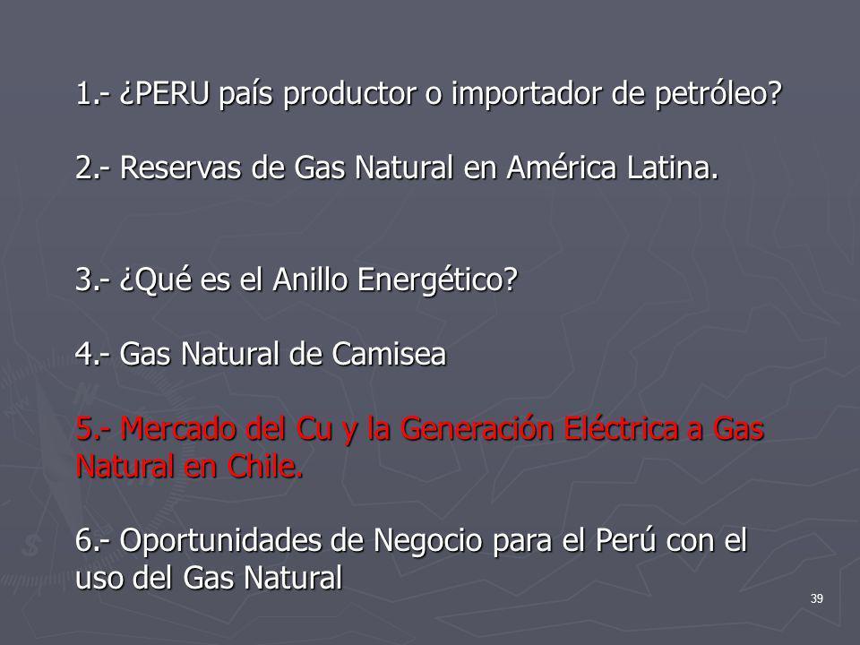 39 1.- ¿PERU país productor o importador de petróleo? 2.- Reservas de Gas Natural en América Latina. 3.- ¿Qué es el Anillo Energético? 4.- Gas Natural