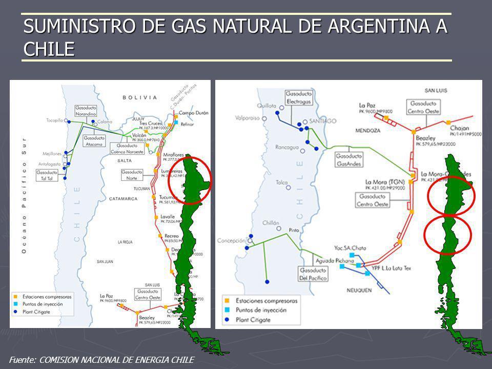 41 SUMINISTRO DE GAS NATURAL DE ARGENTINA A CHILE Fuente: COMISION NACIONAL DE ENERGIA CHILE