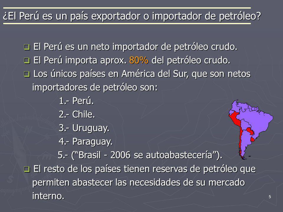 5 El Perú es un neto importador de petróleo crudo. El Perú es un neto importador de petróleo crudo. El Perú importa aprox. 80% del petróleo crudo. El