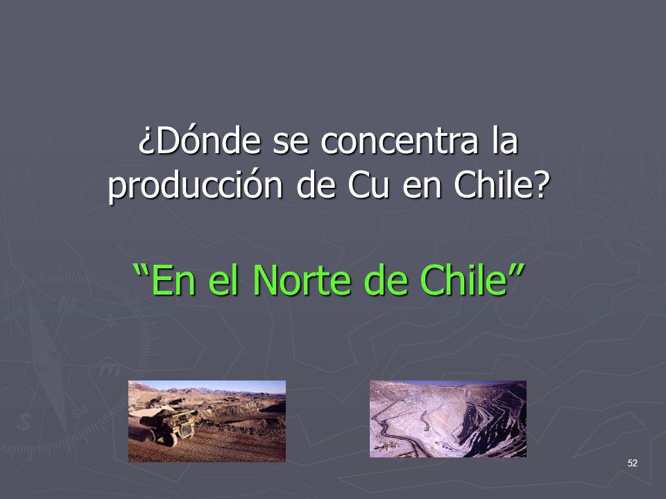 52 ¿Dónde se concentra la producción de Cu en Chile? En el Norte de Chile