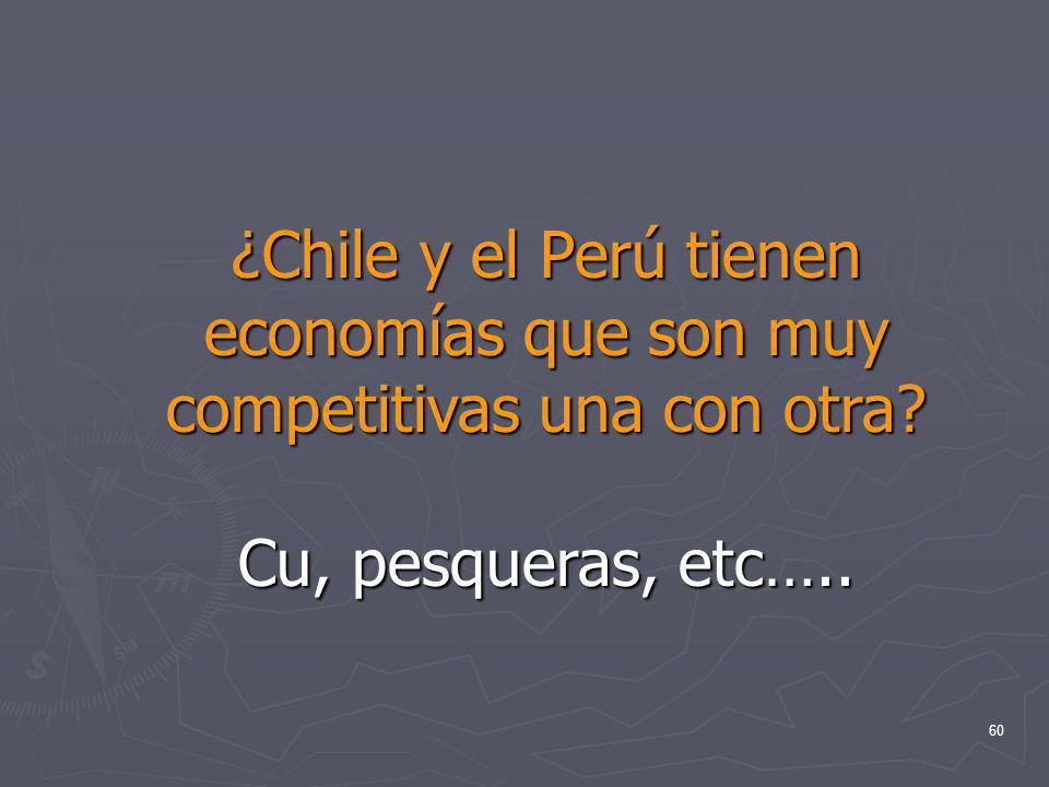 60 ¿Chile y el Perú tienen economías que son muy competitivas una con otra? Cu, pesqueras, etc…..