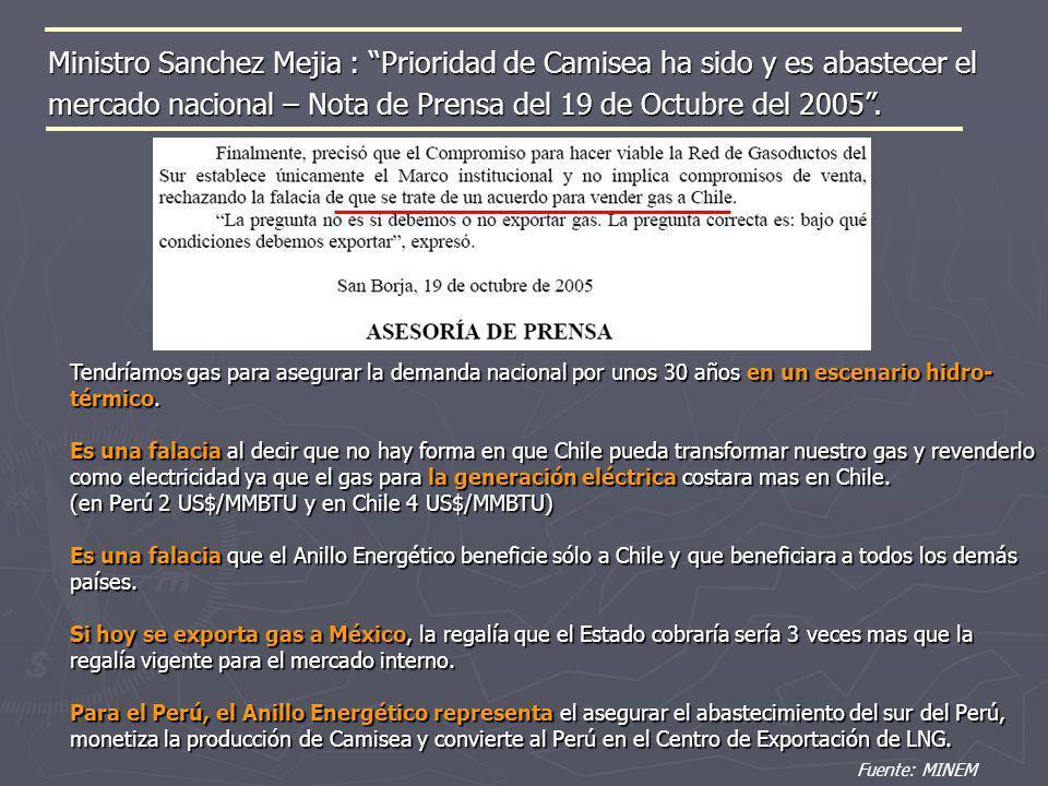 Ministro Sanchez Mejia : Prioridad de Camisea ha sido y es abastecer el mercado nacional – Nota de Prensa del 19 de Octubre del 2005. Fuente: MINEM Te