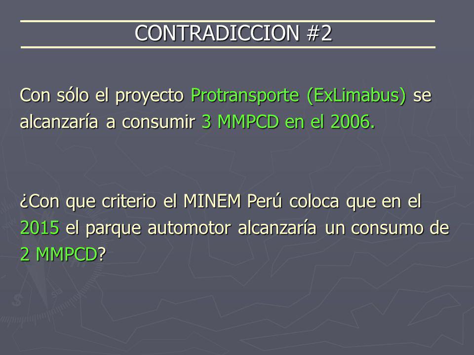Con sólo el proyecto Protransporte (ExLimabus) se alcanzaría a consumir 3 MMPCD en el 2006. ¿Con que criterio el MINEM Perú coloca que en el 2015 el p