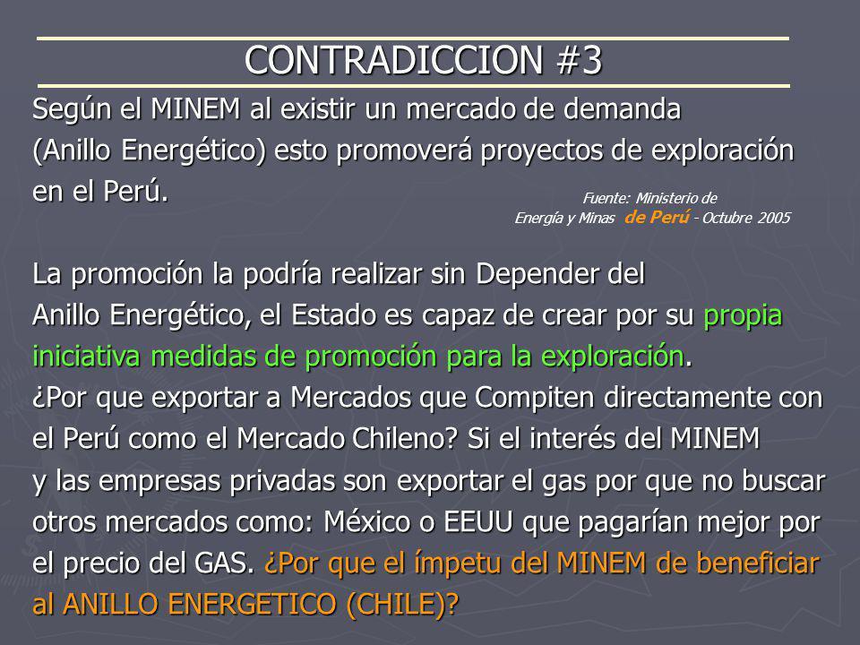 CONTRADICCION #3 Fuente: Ministerio de Energía y Minas de Perú - Octubre 2005 Según el MINEM al existir un mercado de demanda (Anillo Energético) esto