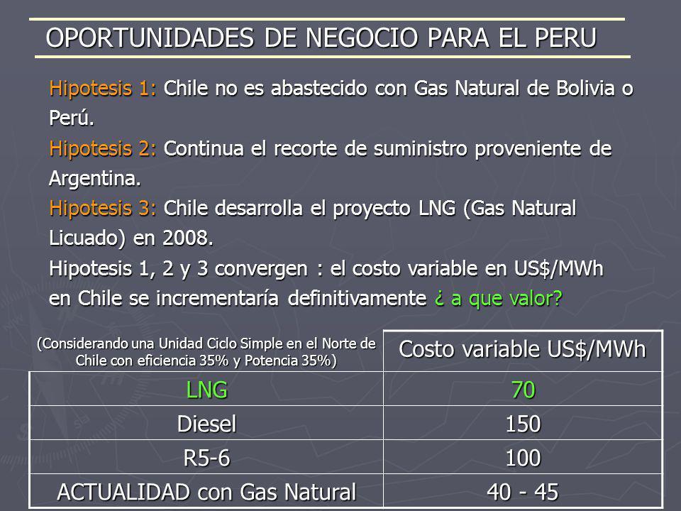 Hipotesis 1: Chile no es abastecido con Gas Natural de Bolivia o Perú. Hipotesis 2: Continua el recorte de suministro proveniente de Argentina. Hipote