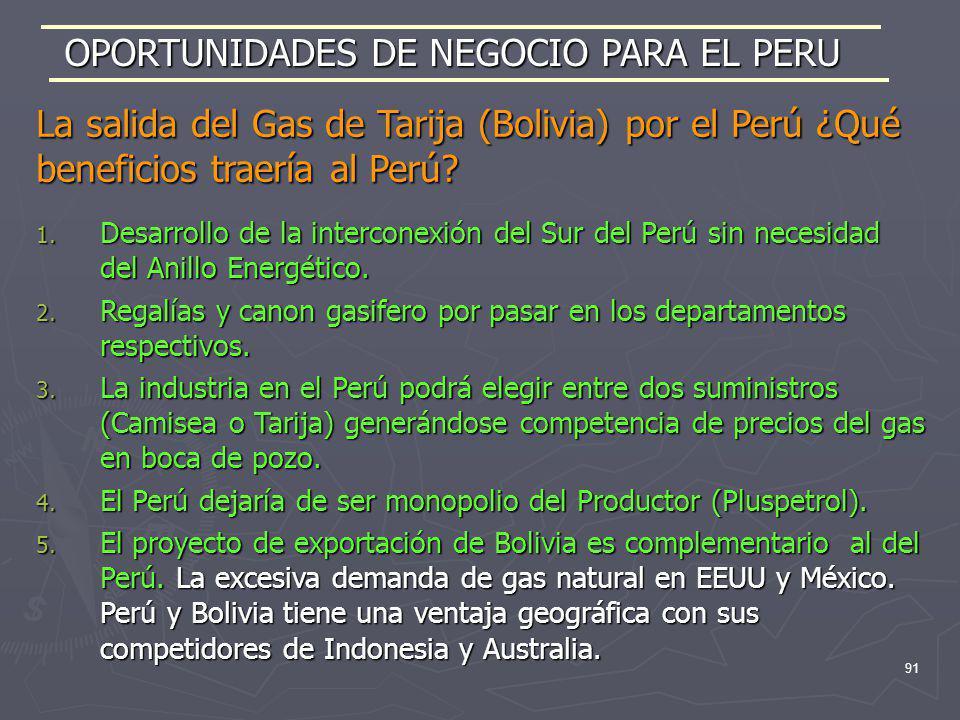 91 1. Desarrollo de la interconexión del Sur del Perú sin necesidad del Anillo Energético. 2. Regalías y canon gasifero por pasar en los departamentos