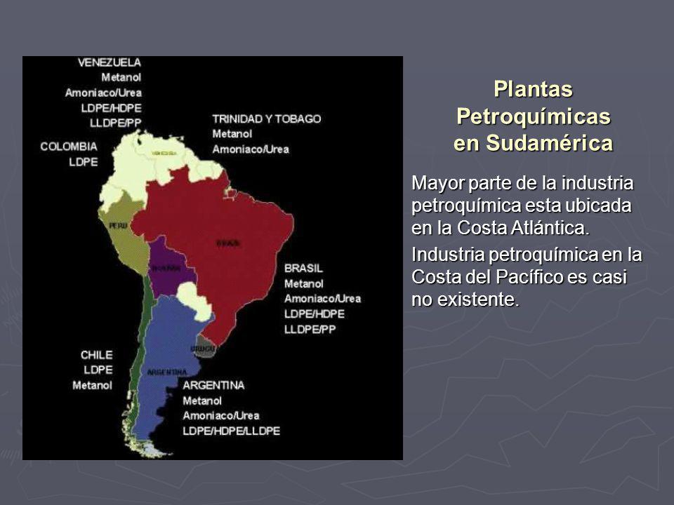 Plantas Petroquímicas en Sudamérica Mayor parte de la industria petroquímica esta ubicada en la Costa Atlántica. Mayor parte de la industria petroquím