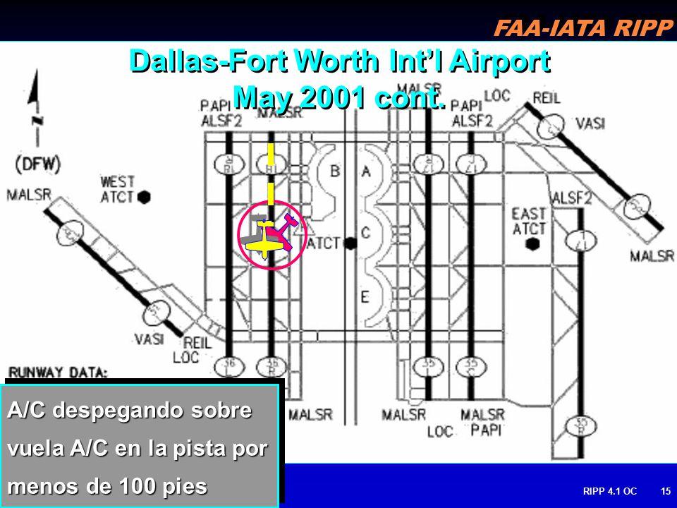 FAA-IATA RIPP RIPP 4.1 OC15 A/C despegando sobre vuela A/C en la pista por menos de 100 pies Dallas-Fort Worth Intl Airport May 2001 cont.