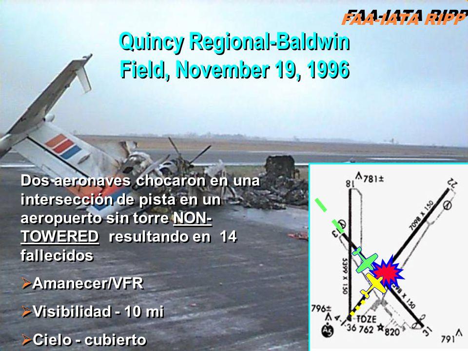 FAA-IATA RIPP RIPP 4.1 OC4 Quincy Regional-Baldwin Field, November 19, 1996 Dos aeronaves chocaron en una intersección de pista en un aeropuerto sin torre NON- TOWERED resultando en 14 fallecidos Amanecer/VFR Visibilidad - 10 mi Cielo - cubierto Dos aeronaves chocaron en una intersección de pista en un aeropuerto sin torre NON- TOWERED resultando en 14 fallecidos Amanecer/VFR Visibilidad - 10 mi Cielo - cubierto FAA-IATA RIPP