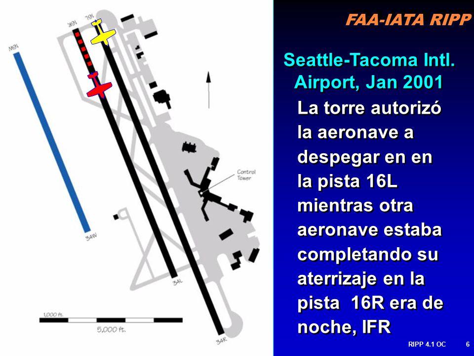 FAA-IATA RIPP RIPP 4.1 OC6 La torre autorizó la aeronave a despegar en en la pista 16L mientras otra aeronave estaba completando su aterrizaje en la pista 16R era de noche, IFR Seattle-Tacoma Intl.