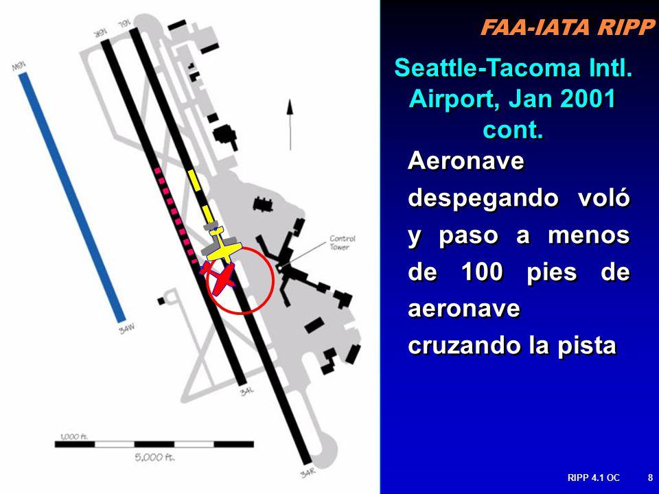 FAA-IATA RIPP RIPP 4.1 OC8 Aeronave despegando voló y paso a menos de 100 pies de aeronave cruzando la pista Seattle-Tacoma Intl.
