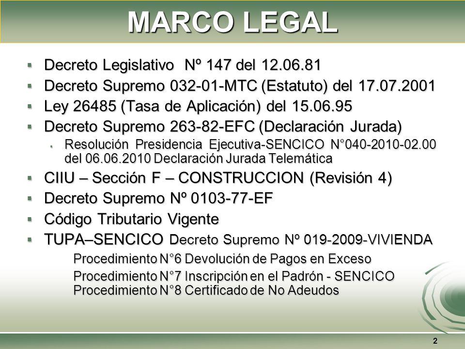 MARCO LEGAL Decreto Legislativo Nº 147 del 12.06.81 Decreto Legislativo Nº 147 del 12.06.81 Decreto Supremo 032-01-MTC (Estatuto) del 17.07.2001 Decreto Supremo 032-01-MTC (Estatuto) del 17.07.2001 Ley 26485 (Tasa de Aplicación) del 15.06.95 Ley 26485 (Tasa de Aplicación) del 15.06.95 Decreto Supremo 263-82-EFC (Declaración Jurada) Decreto Supremo 263-82-EFC (Declaración Jurada) Resolución Presidencia Ejecutiva-SENCICO N°040-2010-02.00 del 06.06.2010 Declaración Jurada Telemática Resolución Presidencia Ejecutiva-SENCICO N°040-2010-02.00 del 06.06.2010 Declaración Jurada Telemática CIIU – Sección F – CONSTRUCCION (Revisión 4) CIIU – Sección F – CONSTRUCCION (Revisión 4) Decreto Supremo Nº 0103-77-EF Decreto Supremo Nº 0103-77-EF Código Tributario Vigente Código Tributario Vigente TUPA–SENCICO Decreto Supremo Nº 019-2009-VIVIENDA TUPA–SENCICO Decreto Supremo Nº 019-2009-VIVIENDA Procedimiento N°6 Devolución de Pagos en Exceso Procedimiento N°7 Inscripción en el Padrón - SENCICO Procedimiento N°8 Certificado de No Adeudos 2