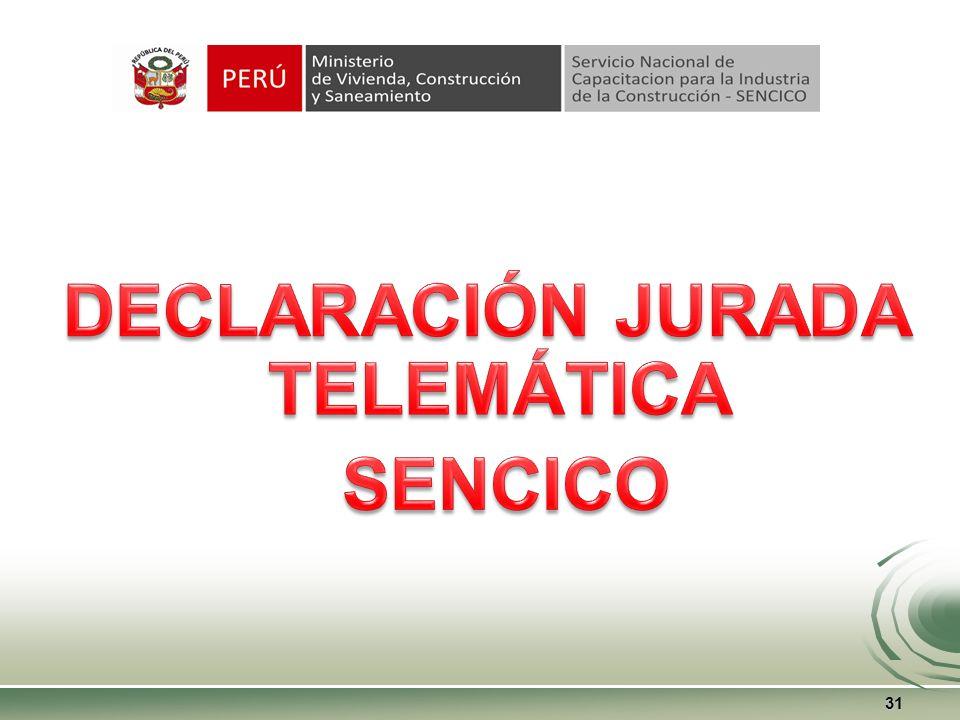 Procedimiento para solicitar CERTIFICADO DE NO ADEUDO 30 De acuerdo a lo dispuesto en el TUPA-SENCICO, el Contribuyente, debe de proceder y cumplir con lo siguiente: 1.