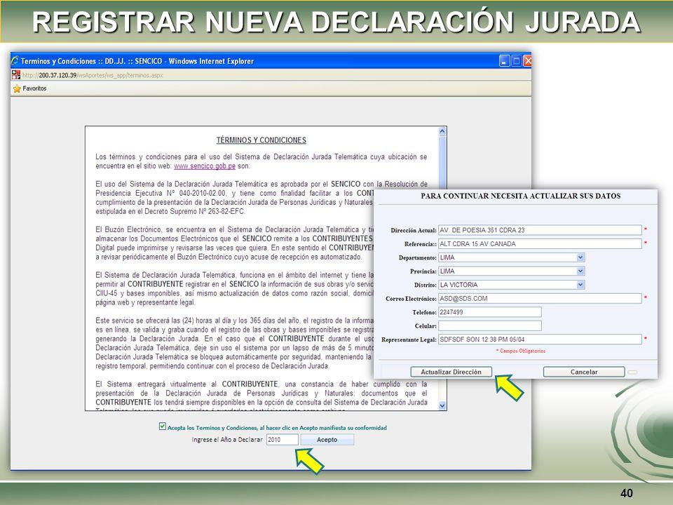 39 REGISTRAR NUEVA DECLARACIÓN JURADA