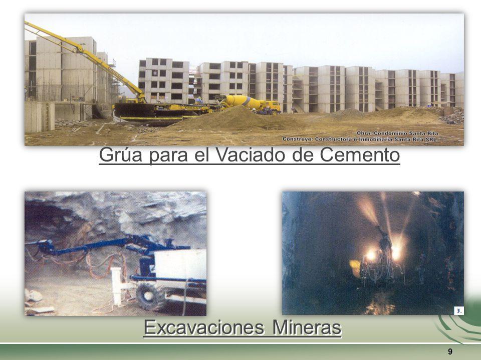 9 Grúa para el Vaciado de Cemento Excavaciones Mineras