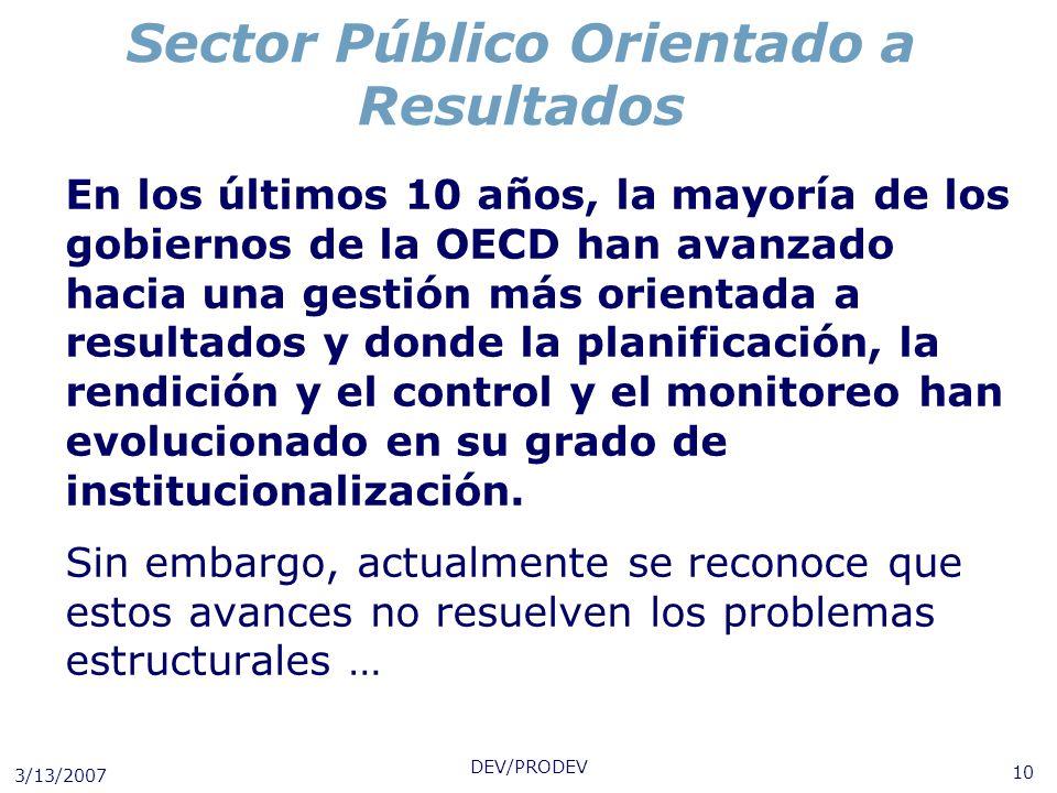 3/13/2007 DEV/PRODEV 10 Sector Público Orientado a Resultados En los últimos 10 años, la mayoría de los gobiernos de la OECD han avanzado hacia una ge