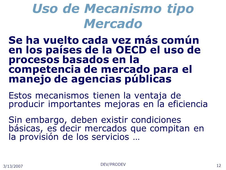 3/13/2007 DEV/PRODEV 12 Uso de Mecanismo tipo Mercado Se ha vuelto cada vez más común en los países de la OECD el uso de procesos basados en la compet