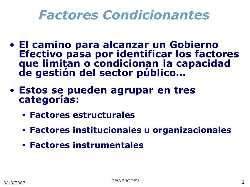 3/13/2007 DEV/PRODEV 2 Factores Condicionantes El camino para alcanzar un Gobierno Efectivo pasa por identificar los factores que limitan o condiciona