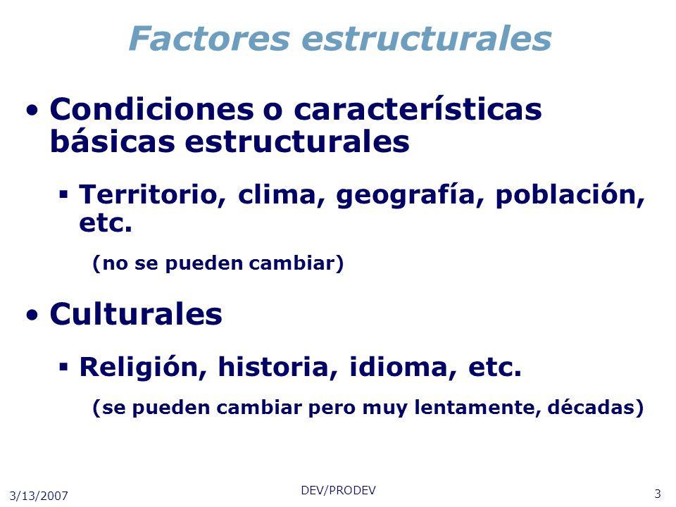 3/13/2007 DEV/PRODEV 3 Factores estructurales Condiciones o características básicas estructurales Territorio, clima, geografía, población, etc. (no se