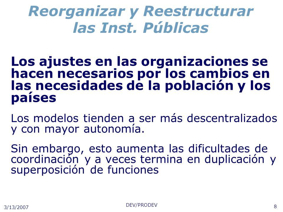 3/13/2007 DEV/PRODEV 8 Reorganizar y Reestructurar las Inst. Públicas Los ajustes en las organizaciones se hacen necesarios por los cambios en las nec
