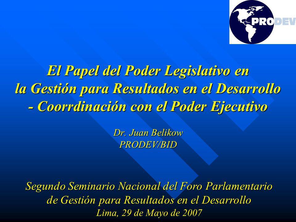 El Papel del Poder Legislativo en la Gestión para Resultados en el Desarrollo - Coorrdinación con el Poder Ejecutivo Dr.
