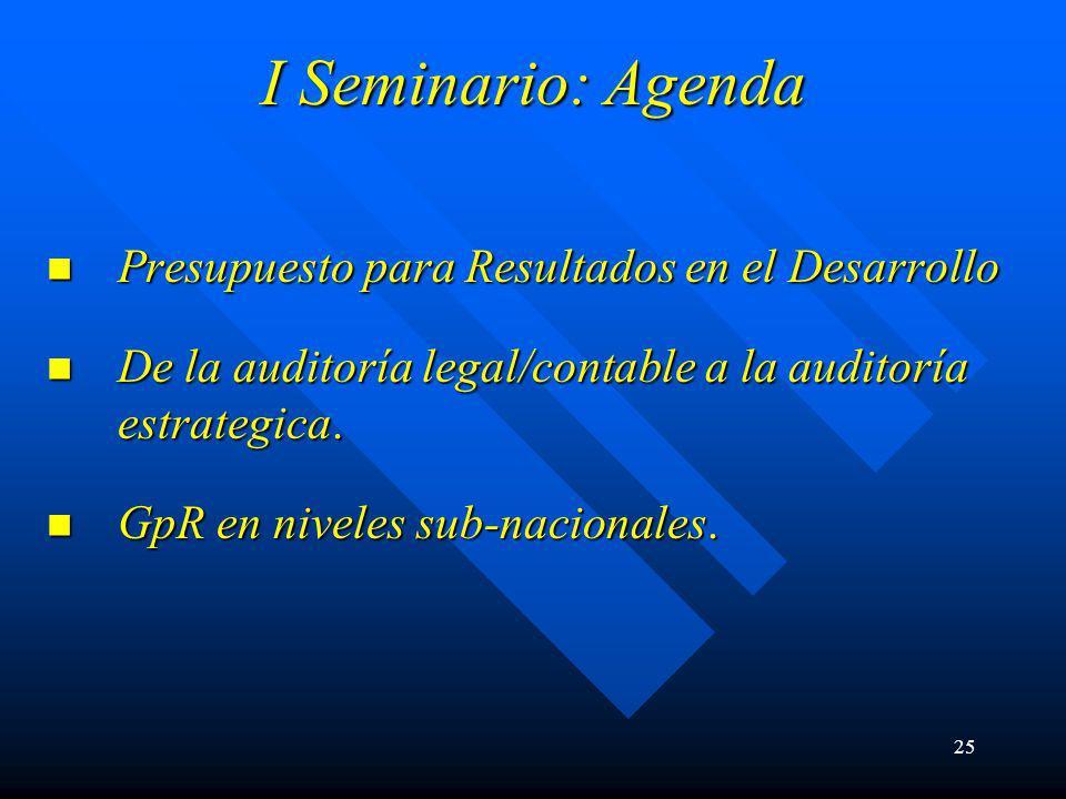 25 I Seminario: Agenda Presupuesto para Resultados en el Desarrollo Presupuesto para Resultados en el Desarrollo De la auditoría legal/contable a la auditoría estrategica.