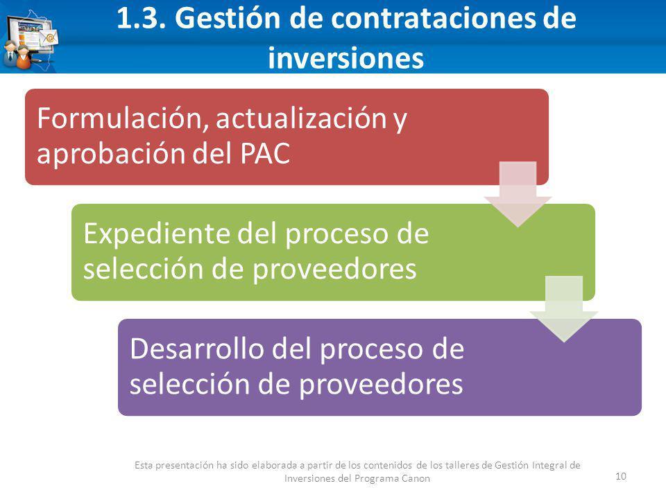 1.3. Gestión de contrataciones de inversiones 10 Esta presentación ha sido elaborada a partir de los contenidos de los talleres de Gestión Integral de