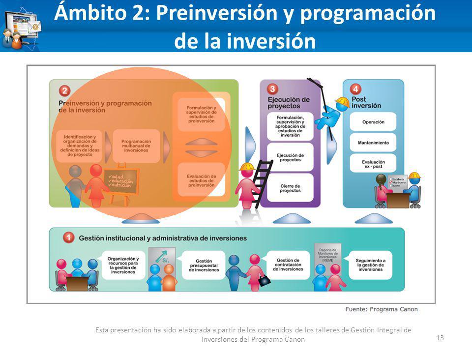 13 Ámbito 2: Preinversión y programación de la inversión Esta presentación ha sido elaborada a partir de los contenidos de los talleres de Gestión Integral de Inversiones del Programa Canon