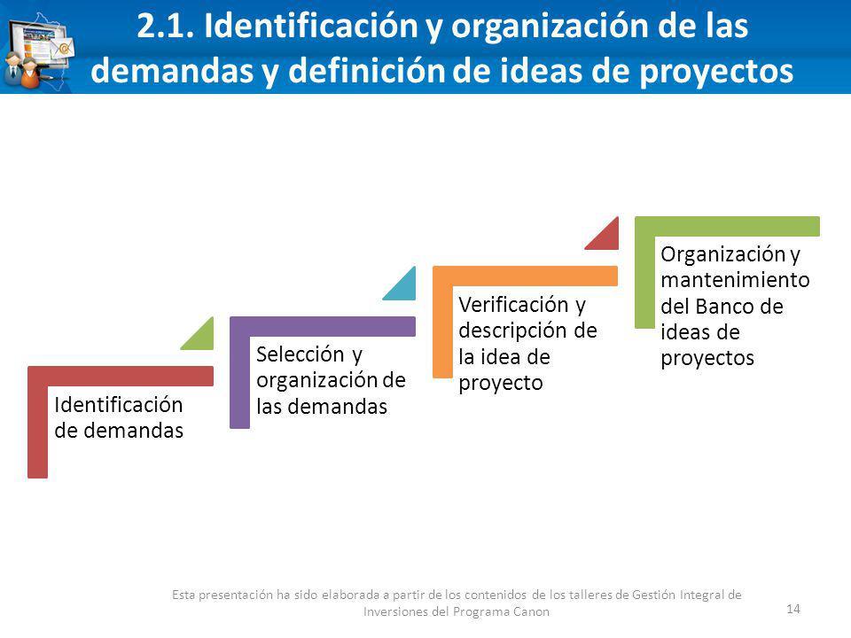 2.1. Identificación y organización de las demandas y definición de ideas de proyectos 14 Esta presentación ha sido elaborada a partir de los contenido