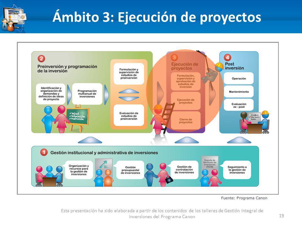 19 Ámbito 3: Ejecución de proyectos Esta presentación ha sido elaborada a partir de los contenidos de los talleres de Gestión Integral de Inversiones del Programa Canon
