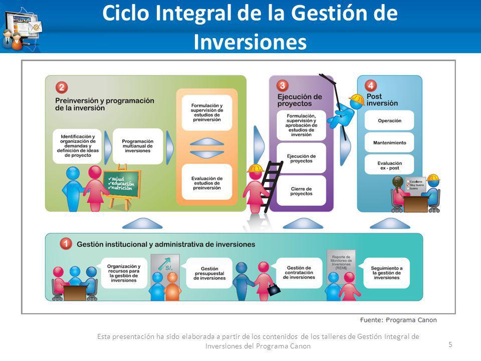 Ciclo Integral de la Gestión de Inversiones 5 Esta presentación ha sido elaborada a partir de los contenidos de los talleres de Gestión Integral de Inversiones del Programa Canon