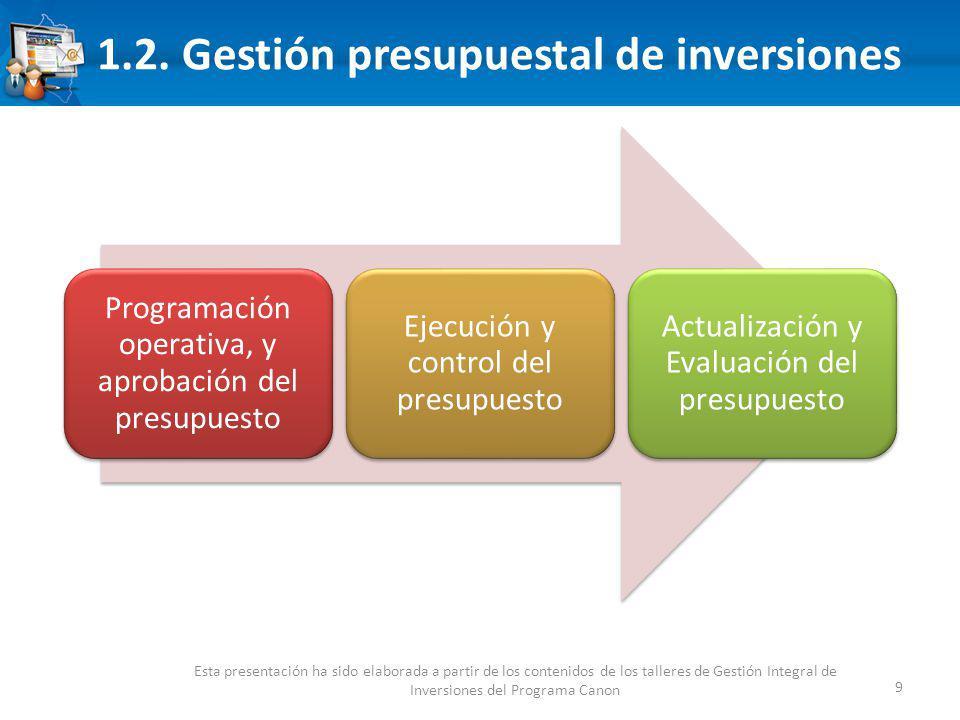 1.2. Gestión presupuestal de inversiones 9 Esta presentación ha sido elaborada a partir de los contenidos de los talleres de Gestión Integral de Inver