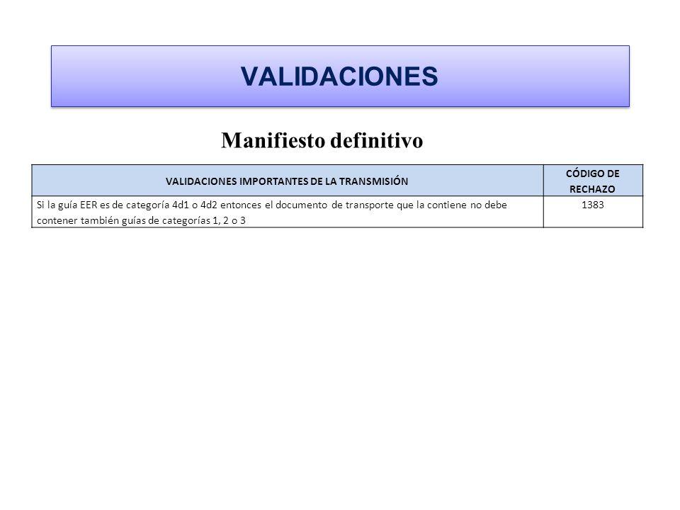 VALIDACIONES Manifiesto definitivo VALIDACIONES IMPORTANTES DE LA TRANSMISIÓN CÓDIGO DE RECHAZO Si la guía EER es de categoría 4d1 o 4d2 entonces el d