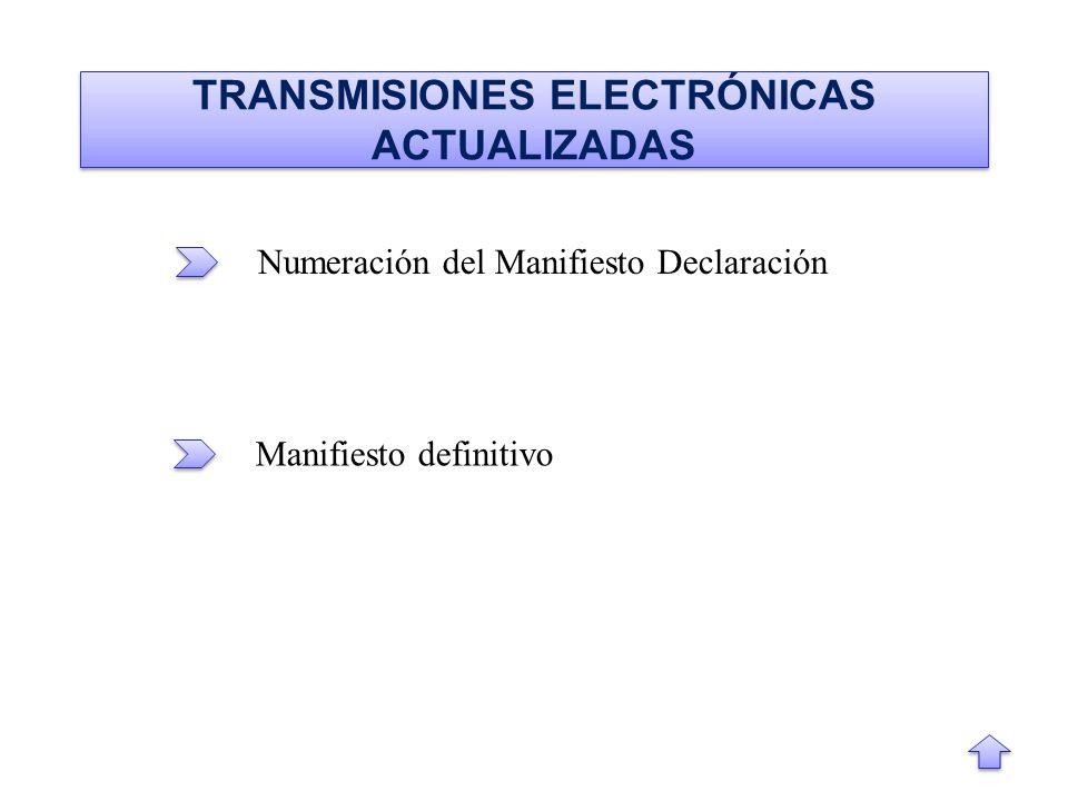 TRANSMISIONES ELECTRÓNICAS ACTUALIZADAS Numeración del Manifiesto Declaración Manifiesto definitivo