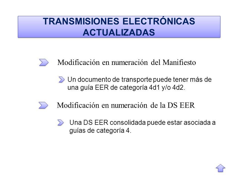 TRANSMISIONES ELECTRÓNICAS ACTUALIZADAS Modificación en numeración del Manifiesto Modificación en numeración de la DS EER Un documento de transporte puede tener más de una guía EER de categoría 4d1 y/o 4d2.