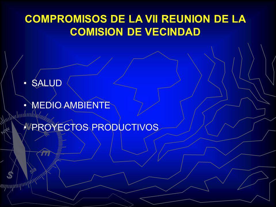 COMPROMISOS DE LA VII REUNION DE LA COMISION DE VECINDAD SALUD MEDIO AMBIENTE PROYECTOS PRODUCTIVOS