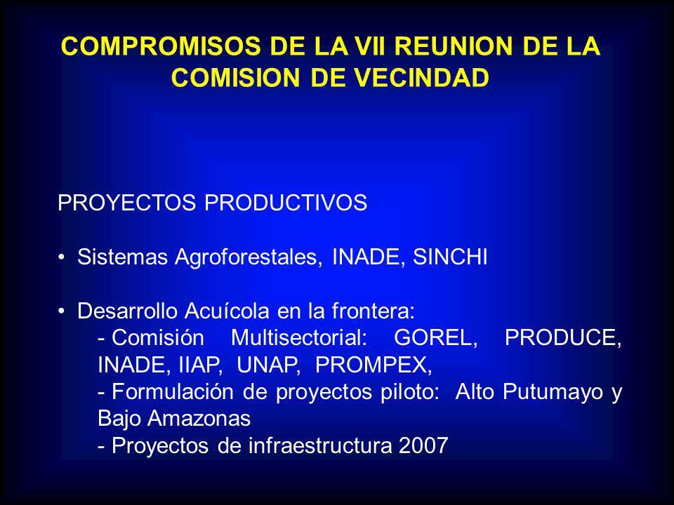 COMPROMISOS DE LA VII REUNION DE LA COMISION DE VECINDAD PROYECTOS PRODUCTIVOS Sistemas Agroforestales, INADE, SINCHI Desarrollo Acuícola en la frontera: - Comisión Multisectorial: GOREL, PRODUCE, INADE, IIAP, UNAP, PROMPEX, - Formulación de proyectos piloto: Alto Putumayo y Bajo Amazonas - Proyectos de infraestructura 2007