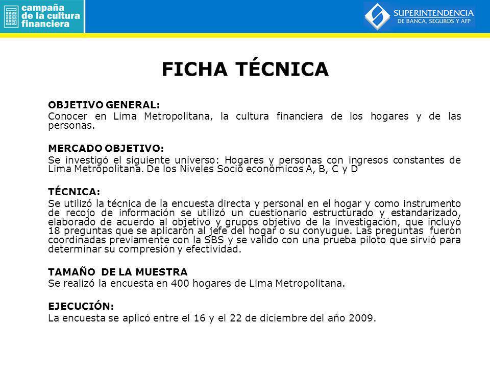 FICHA TÉCNICA OBJETIVO GENERAL: Conocer en Lima Metropolitana, la cultura financiera de los hogares y de las personas. MERCADO OBJETIVO: Se investigó
