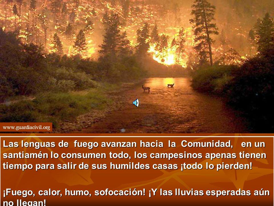 www.guardiacivil.org Las lenguas de fuego avanzan hacia la Comunidad, en un santiamén lo consumen todo, los campesinos apenas tienen tiempo para salir de sus humildes casas ¡todo lo pierden.