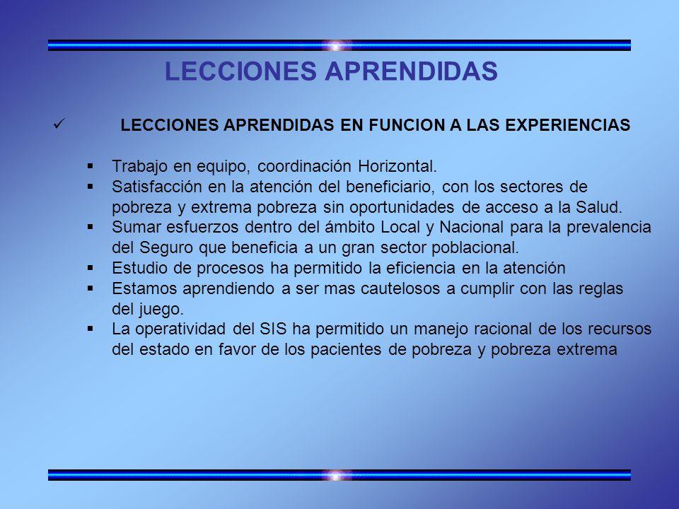 LECCIONES APRENDIDAS LECCIONES APRENDIDAS EN FUNCION A LAS EXPERIENCIAS Trabajo en equipo, coordinación Horizontal.