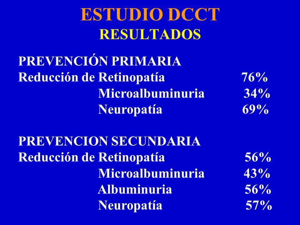 ESTUDIO DCCT RESULTADOS PREVENCIÓN PRIMARIA Reducción de Retinopatía 76% Microalbuminuria 34% Neuropatía 69% PREVENCION SECUNDARIA Reducción de Retinopatía 56% Microalbuminuria 43% Albuminuria 56% Neuropatía 57%